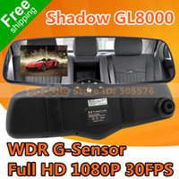 "1 channel 1.5 1920x1080 car dvr Shadow GL8000 Car Rear View Mirror DVR Recorder with 3.0"" LCD Full HD 1920*1080P 30FPS GPS G-Sensor WDR Free Shipping"