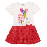 Wholesale Hot New m y Baby girls dresses Peppa Pig clothing cotton short sleeve cupcake dress bow polka dot dress