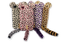 For Apple iPhone Metal Yes Free shipping 3D Flocking Leopard Print Cat with Tail Designed TPU Soft Case for iPhone 4 4S
