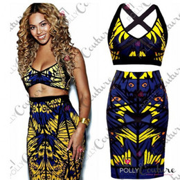Wholesale 2014 New Sexy Fashion Summer Women Two Piece Bodycon Bandage Dress Celebrity Club Party Owl Print Mini Casual Dress