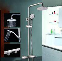 Bath & Shower Faucets Ceramic Shower Sets Chrome Bathroom Thermostatic Shower Set Faucet Rainfall Shower Head Mixer Tap