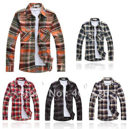 Wholesale Men s Shirt Long Sleeve Best Collection Western Grid Pattern plaid Shirts Colors Size WIithout