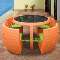 Wholesale Outdoor Wicker Park restaurant combination cafe tables and chairs Continental Furniture Set Five piece coffee table rattan chair