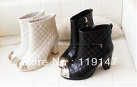 Wholesale 2013 Winter Luxury Fashion Sheepskin Sequined Metal Round toe Brand Designer Ankle Boots Short Grid plaid Booties for women
