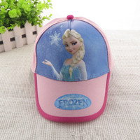 Wholesale 2014 new girl baseball hat frozen Elsa children baseball hat beach hat girl pink hat rose red hat cartoon cotton baseball cap E0001
