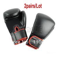 Wholesale 2Pairs Man Super Strength Black Boxing Gloves Muay Thai Training Gloves Sparring Gloves oz Hot Selling TK0769