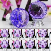 Ceramic Furniture Handle & Knob TK0737# New 8pcs 30mm Purple Glass Crystal Cabinet Drawer Knob Kitchen Pull Handle Door Cupboard Wardrobe Knob TK0737