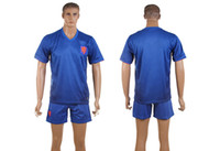 Wholesale 2014 World Cup Netherlands Away Jerseys Royal Blue Holland Mens Soccer Sets Comfy Soccer Jerseys Sports Uniform Mens Sports Shirts Mix Order