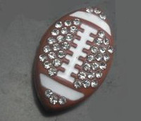 slide charms - mm rhinestone American Football Rugby sport slide charm pet dog cat tag