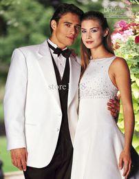 Wholesale New Groom Tuxedos Best man Suit Wedding Groomsman Men Suits Bridegroom Jacket Pants Tie Vest