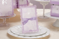 Wholesale Purple DIY Wedding Invitations Ribbon Handmade Embossed Wedding Gift Lace Free Printable Cards Romatic Wedding Favors