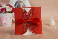 Wholesale Red DIY Wedding Invitations Ribbon Laser Cut Embossed Wedding Gift Lace Free Printable Cards Romatic Wedding Favors