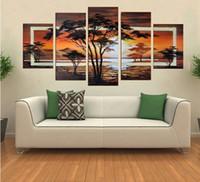 Бесплатная доставка !! ручная роспись маслом Деревья Африканский восход пейзаж маслом на холсте стены искусства 5 шт / комплект, FZ001