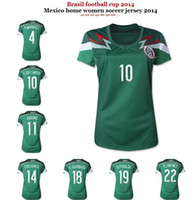 Soccer Women Short 2014 Mexico Home Jerseys Green Women Soccer Jersey Custom Name and Number High Quality Ladies Sports Shirts Cheap Sports Uniforms Mix Order