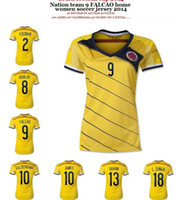 Wholesale Women Columbia Home Jerseys Yellow Colombia Soccer Jerseys World Cup Ladies Sports Shirts Cheap Athletic Apparel Sports Uniforms