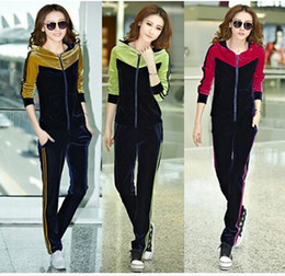 Wholesale Autumn gold velvet leisure hoodies sweatshirts sportswear women plus size XXL XXXLTracksuits green rose yellow suit coat