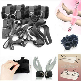 Wholesale Secret Under Bed Restraint System with Fur Cuffs Underbed Private Sex Bed Restraints Handcuffs Hidden Bondage Temperament Toys SM Adult