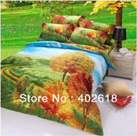 Knitted Cotton Yes Free shipping-- 4PCS Bedding set, 3D bed sheet,100%Cotton,Queen Size,Beautiful Flowers, 4PCS Duvet cover Bed spread Bed linen