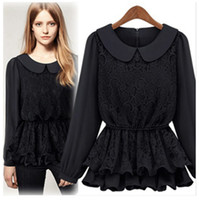 Wholesale H80006 new Korean version of the new fall and winter bottoming stitching lace elastic waist chiffon blouse shirt