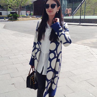 Wholesale H6154 with the European Grand Prix autumn new models zhangyuqi star printing blue long coat jacket