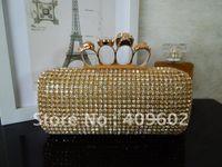 Handbags Mini(<20cm) Hasp Free shipping! Diamond Skull Clutch bags, Ladies purses, designer handbags women bags, evening bag, wholesale