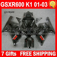 7gifts+ CowlFor GSX R600 SUZUKI K1 GSX- R600 ALL Black 01 02 0...