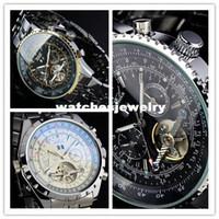 Prezzi Orologi jaragar-2014 JARAGAR lusso di funzione AUTO svizzero Mens multi orologio da polso orologio meccanico nero