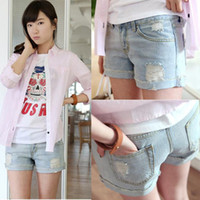 Shorts Women Skinny,Slim New 2014 New Retro Women Girls Low Waist Flange Hole Ripped Wash White Jean Denim Shorts 17470