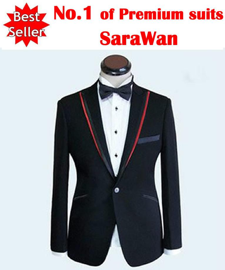 Custom Made Men Suit,Black Men Wedding Suit Red Double Collar Men