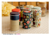 Wholesale DHL Korean fashion cute mini portable cylindrical tin storage box jewelry box Bandaotiehe Tall round toothpick box of tea