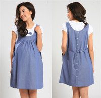 Wholesale New summer maternity dress clothes for pregnant women Imitation of denim the thin fake two piece dresses