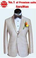 Wholesale Custom made men suit beige mens wedding suits double collar mens tuxedos jacket pants tie pocket squ