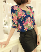 Casual Women Chiffon Brand New Women Summer 13 colours Korean Style Slim Chiffon Retro Full-on Floral Clown Shirts Long Sleeves with Shoulder Pad Top Shirts