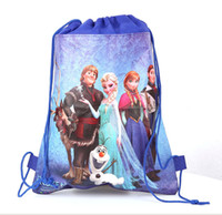 Wholesale frozen drawstring bags Anna Elsa peppa pig sofia the first backpacks handbags children s school bags kids shopping bags present