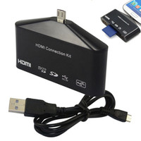 Wholesale 1080P HDMI HDTV OTG Card Reader Adapter for Samsung Galaxy S3 S4 i9500 Note2 Freeshipping amp