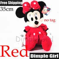 Unisex 3-4 Years Video Games Free Shipping 1pc 35cm Kawaii Cute In Dress Red Minnie Mouse Toy Doll Birthday Gift Present Creative Kids For Baby Girl Children