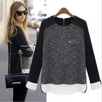 Women Polo Tops kkmall Wholesale 5pce lot QN-147 New 2013 t shirt women Spring new long-sleeved chiffon blouse stitching S M L XL XXL