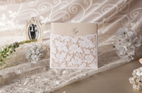 Wholesale Gorgeous Vintage Lace Flower Cutout Wedding Invitations Cards With Bow in White Customizing amp laser cut wedding invitations