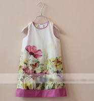 Wholesale Europe Summer Girls Sleeveless Flowers High Quality Dresses Kids Clothing Tank Butterfly Floral Dress Childs Vest Zipper Dressy H0495