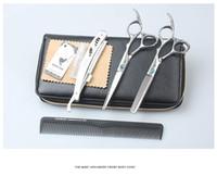 Wholesale Hair scissors INCH Cutting thinning scissors Blue CZ diamond Screw HM100 free salon cape
