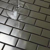 Wholesale Silver drawbench stainless steel mosaic tiles brick wall backsplash x12 quot HME8019 sq ft