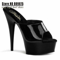 Wholesale sexy stripper shoes cm high heeled shoes fashion shoes slippers Black Patent High Heel Mid Platform Slip on Mules