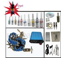 1 Gun Professional Kit  Wholesale - USA Dispatch Professional complete cheap tattoo kits 1 guns machines 10 ink sets equipment needles grips power free shipping