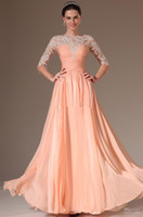 Wholesale 2014 Prom Dresses Scoop Chiffon Lace Applique Long sleeve Dress A Line Floor length Gowns