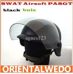 Wholesale SWAT Airsoft PASGT Kevlar Helmet w Visor Black top sale free ship