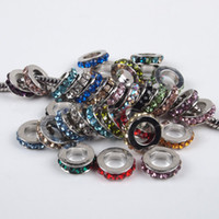 Wholesale 100Pcs MM Multi color Rhinestone Spacer Crystal Rondelle Alloy Big Hole European Beads Fit Charms Bracelets