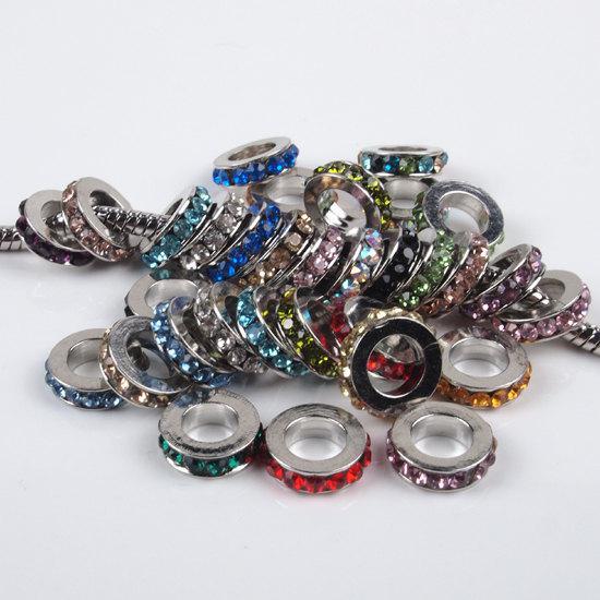 100Pcs 8MM multicolori del distanziatore del Rhinestone Rondelle di cristallo grande foro della lega europea misura branelli di fascini i braccialetti