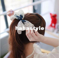 Other Women Fabrics A127 The new South Korean hair accessories headdress Korean lace hanging oversized bow hairpin top folder spring drillsSP0501