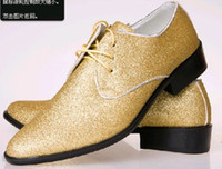 2014 hot selling gold pu leather dress shoes men's business casual