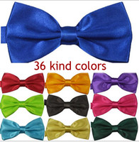 Wholesale Solid color tie men s polyester yarn light burst models adult variety of multi color factory bow ties